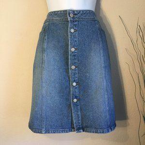 Old Navy button front denim skirt 14